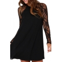 Round Neck Lace Patchwork Plain Raglan Long Sleeve Dress