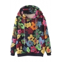 Colorful Floral Graffiti Hooded Long Sleeve Sweatshirt