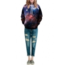 Hooded Black Galaxy Print Pockets Pullover Sweatshirt