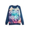 Letter &Geometric Print Raglan Sleeve Pullover Sweatshirt