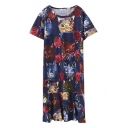 Round Neck Short Sleeve Cartoon Print T-Shirt Midi Dress