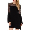 Round Neck Lace Patchwork Cutout Back Flare Sleeve Chiffon Dress