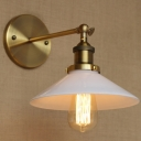 White 1 Light LED Wall Sconce in Brass Finish