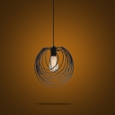 Matte Black 1 Light Stacked Circle Small LED Hanging Pendant