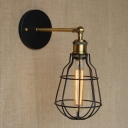 1 Light LED Wall Sconce in Polished Brass with Wire Cage