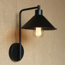 Black 1 Light LED Wall Sconce with Cone Metal Shade