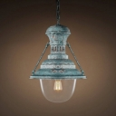 Blue Mottled Rust Iron Indoor 1 Light LED Pendant with Clear Glass Shade