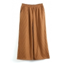 Corduroy Elastic Waist Wide Leg Plain Pants