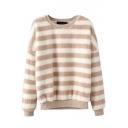 Round Neck Batwing Sleeve Stripes Fur Sweatshirt