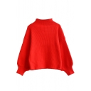 High Neck Balloon Sleeve Batwing Red Cropped Sweater