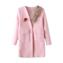 Fur Ball Patchwork Fur Neck Single Button Tweed Coat