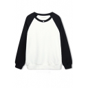 Button Front Raglan Sleeve Color Block Round Neck Sweatshirt