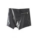 Plain Asymmetrical Hem Zipper Detail PU Mini Skirt