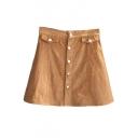 Single Breasted A-Line Corduroy High Waist Skirt
