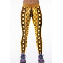 Gold Metal Print Skinny Stretch Elastic Waist Leggings