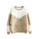 Loose Christmas Deer Embroidery Color Block Thicken Sweatshirt
