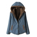 Hooded Velvet Lining Single Breasted Plain Padded Coat