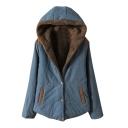 Hooded Velvet Lining Single Breasted Plain Padded Coat