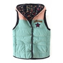 Hooded Single Breasted Sleeveless Color Block Padded Vest