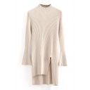 High Neck Long Sleeve Plain Split Side High Low Long Sweater