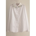 Swan Embroidery Lapel White Button Down Long Sleeve Shirt