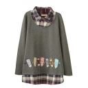 Plaid Patchwork False Two-Piece Pencil Embroidery Sweatshirt