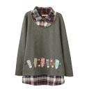 Plaid Patchwork False Two-Piece Pencil Embroidery Sweatshirt