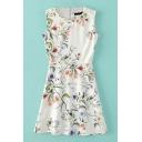 Round Neck Sleeveless Floral Print Flare White Dress