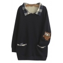 Plaid Lapel Owl Embroidery Double Pockets Tunic Sweatshirt
