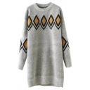Round Neck Geometric Rhombus Jacquard Longline Sweater