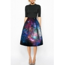 Black Galaxy Print High Waist A-Line Midi Skirt