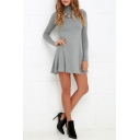 High Neck Plain A-Line Long Sleeve Mini Flare Dress