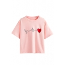 Round Neck Heart Beat Embroidery Short Sleeve Tee