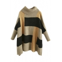 Turtleneck Batwing Sleeve Color Block Plaid Split Side Sweater
