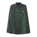 Cactus Embroidery Single Pocket Lapel Button Down Shirt