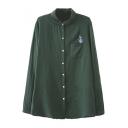 Cactus Embroidery Single Pocket Lapel Button Down Shirt