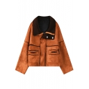 Plain Patchwork Wool Lining Columbia Zipper Suede Jacket
