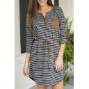 Button Detail Stripes Single Pocket Curved Hem Belt Waist Dress