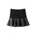 Plain High Waist Zip Back PU Patchwork Ruffle Hem Mini Skirt