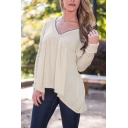 V-Neck Long Sleeve High Low Tie Back Loose Blouse