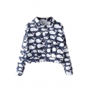 Lapel Cartoon Fish Print Single Breasted Cropped Denim Jacket