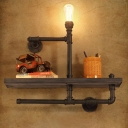 Utility Single Light Bookshelf LED Wall Lamp with Wood Accents