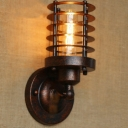 8'' Height Antique Copper 1 Light  LED Mini Wall Sconce with Cylindrical Cage
