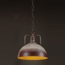 12''Wide Industrial 1 Light Brown and White Dome LED Pendant