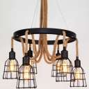 Black Round Finish 6 Light Rope LED Chandelier with Wire Guard