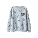 Cute Cartoon Snowman Print Pocket Detail Sweatshirt