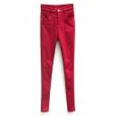 High Waist Zipper Fly Stretch Velvet Plus Plain Pants