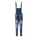 Button Detail Ripped Skinny Overall Blue Jeans