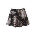 Elastic Waist Vintage Floral Print Tweed Mini Skirt