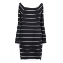 Boat Neck Long Sleeve Stripes Color Block Bodycon Midi Knit Dress